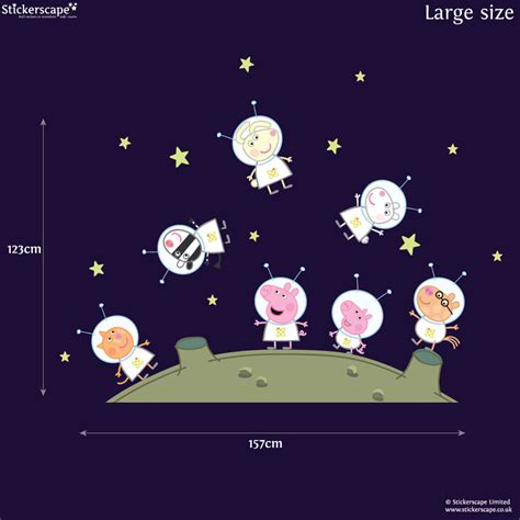 and friends wall stickers peppa pig and friends on the moon wall stickers pack stickerscape uk