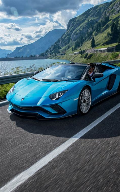 blue lamborghini aventador  roadster  pure