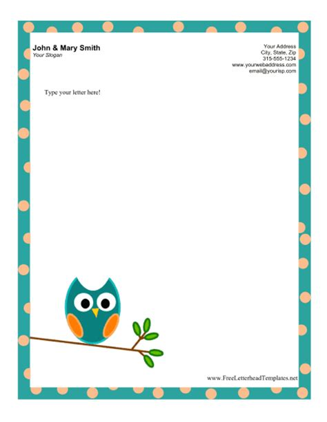 word stationery template free owl letterhead