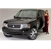 Range Rover Cars Black Super Car Lady In Long Red Dress