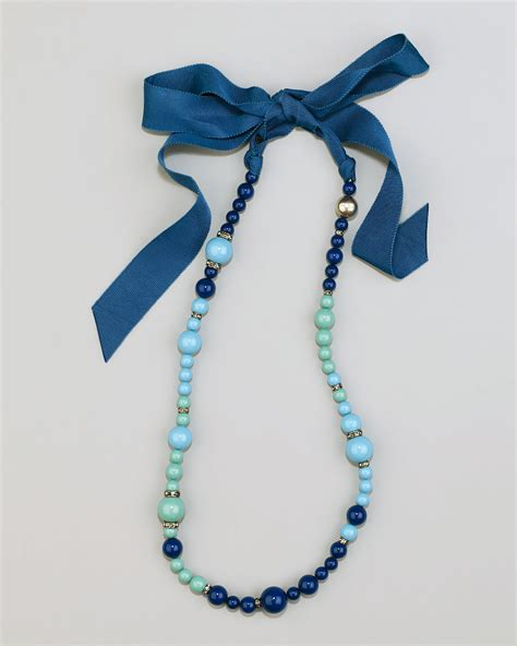 beaded ribbon lanvin beaded ribbon necklace in blue lyst