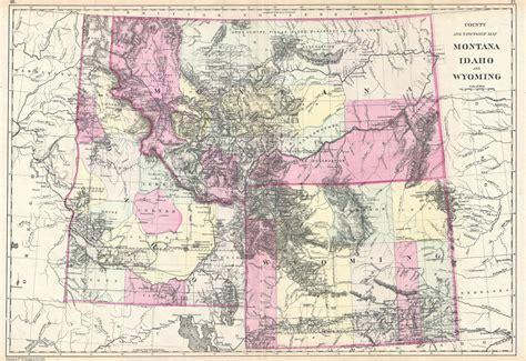 idaho montana map map of idaho montana and wyoming