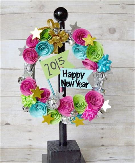 new year paper flower happy new year wreath family crafts