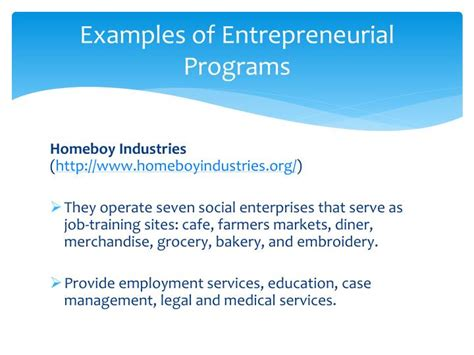 Entrepreneurship Mba Programs by Ppt Employment Initiatives For Offenders Gerald Melnick