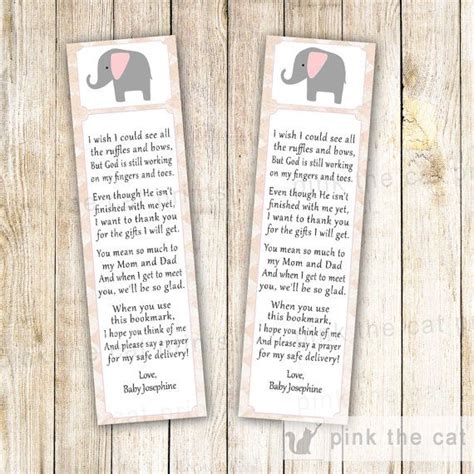 printable elephant bookmarks elephant bookmark party favor baby girl shower by