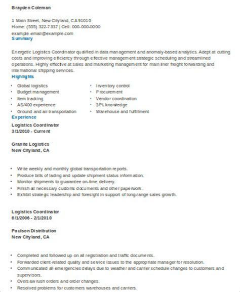 Logistics Resume by 9 Sle Logistics Resumes Sle Templates