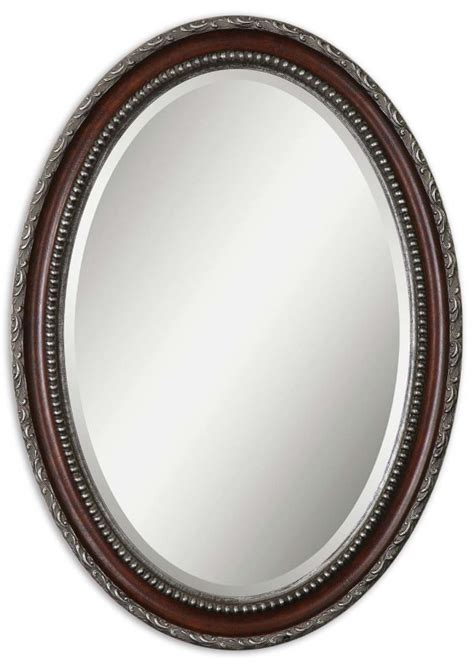 silver oval mirrors bathroom uttermost 14196 montrose oval silver mirror districtdecor