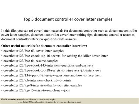 Letter Of Recommendation For Financial Controller Top 5 Document Controller Cover Letter Sles