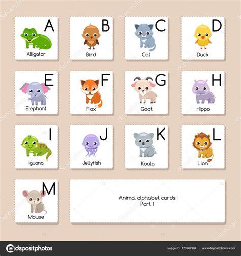 animal alphabet stock vector animal alphabet cards stock vector 169 elentina 173962984