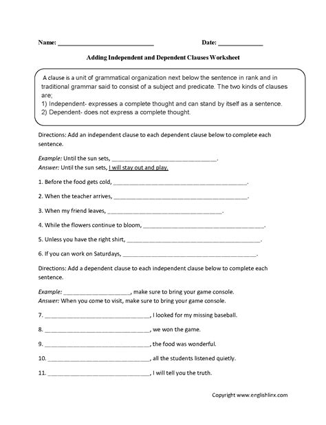 adding dependent and independent clauses worksheet