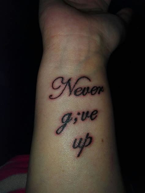 hard times tattoo a i recently had done to remind me to never give up