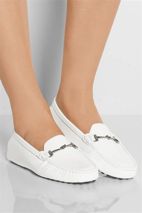 white patent leather loafers tod s patent leather loafers in white lyst