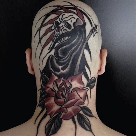 black rose of death tattoo black tribal grim reaper stencil