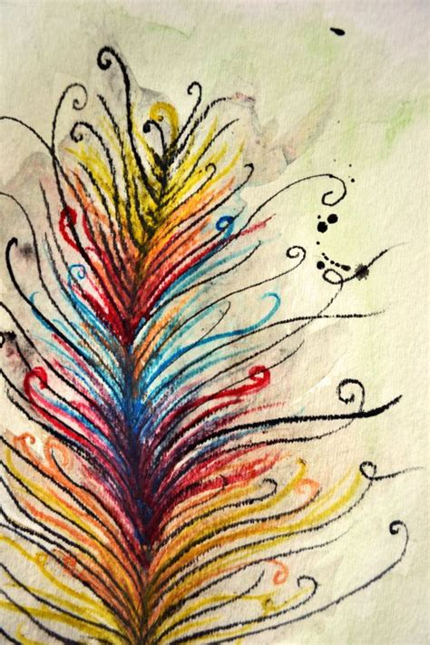colorful feather watercolor drawing design beautiful watercolour and ideas