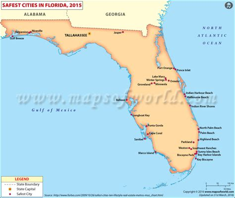 florida usa map cities safest cities in florida safest places to live in florida
