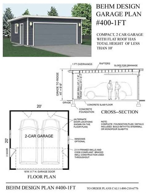 Flat Roof Garage Plans by 2 Car Flat Roof Garage Plan No 400 1ft By Behm Design 20