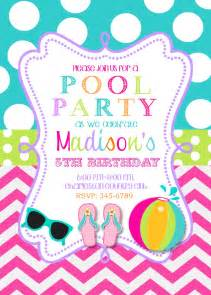 pool birthday invitations printable or digital