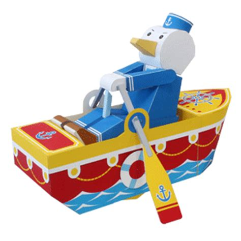 Paper Craft Toys - canon papercraft movable seagull sailor free paper