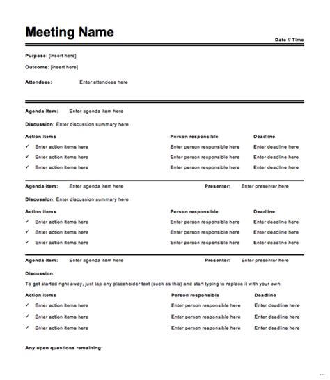 meeting minutes template worthy photoshots word doc