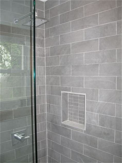 vertical subway in grey yummy rental bathroom pinterest nice gray shower tile with moen shower faucet http