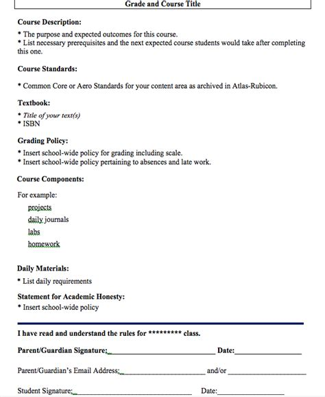 class syllabus template courses for teachers course syllabus template for teachers