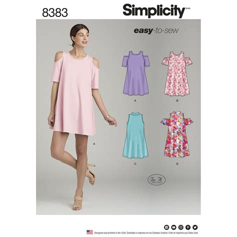pattern review uk simplicity 8383 misses knit trapeze dress with neckline