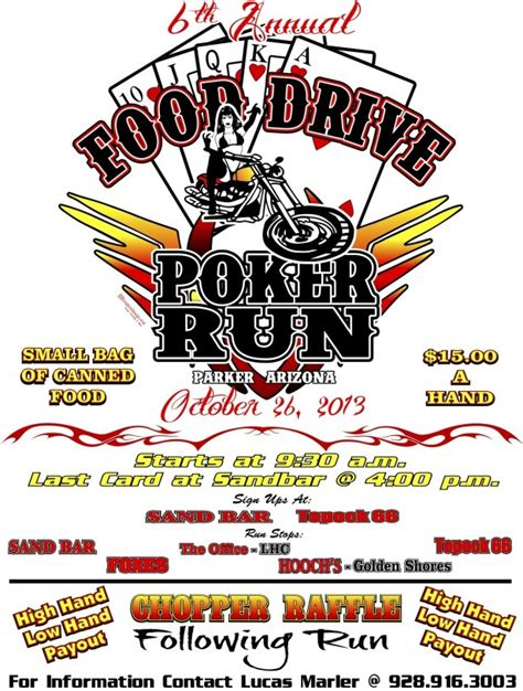 annual food drive poker run parker