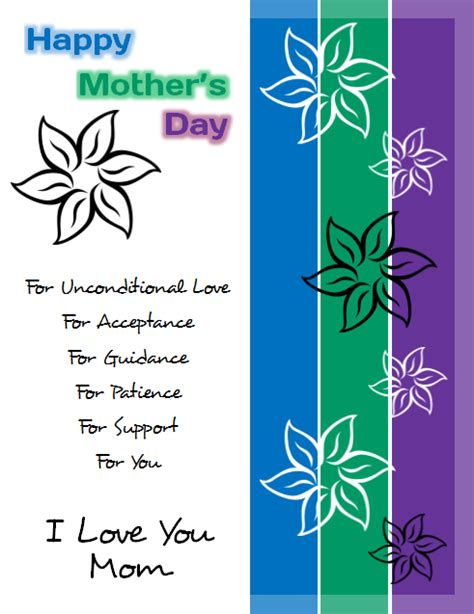 Mothers Day Card Publisher Template by Design For S Day Flyer Template In Microsoft