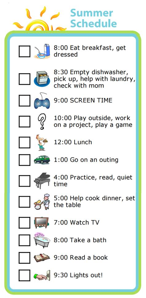 daily summer schedule printable week 19 learning balance with a summer schedule the