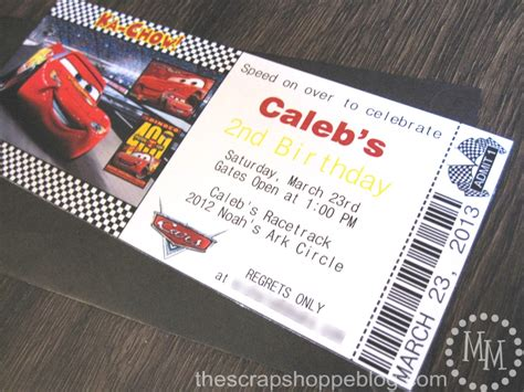 printable nascar tickets cars birthday invitation the scrap shoppe