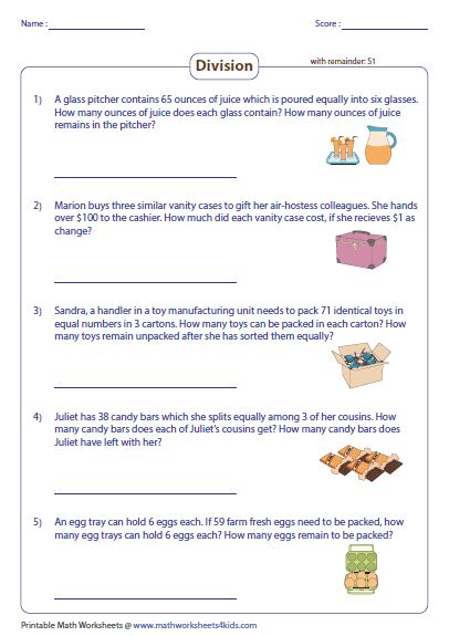 Division Word Problems Worksheets by Division Word Problems Worksheets