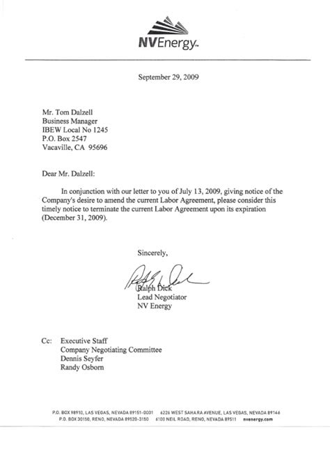 Cancellation Letter For Union Nv Energy Cancellation Letter