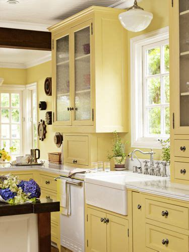 Yellow Kitchen Cabinets by Yellow Kitchen Cabinets On Pale Yellow