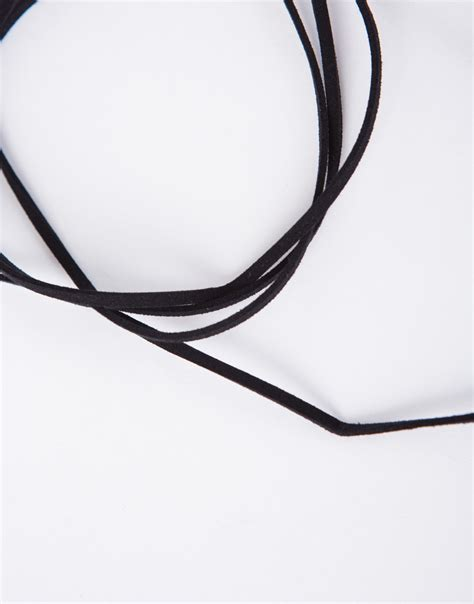 Bow String Choker bow wrap around necklace black suede bow choker necklace