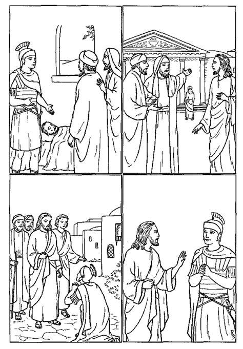 coloring page jesus heals centurion s servant centurion bible crafts