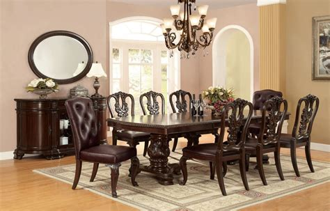 Cm3319t Bellagio Dining Table In Brown Cherry W Options Bellagio Dining Table