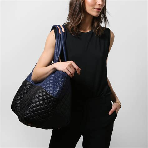 mz wallace large metro tote in black and navy colorblock oxford harness