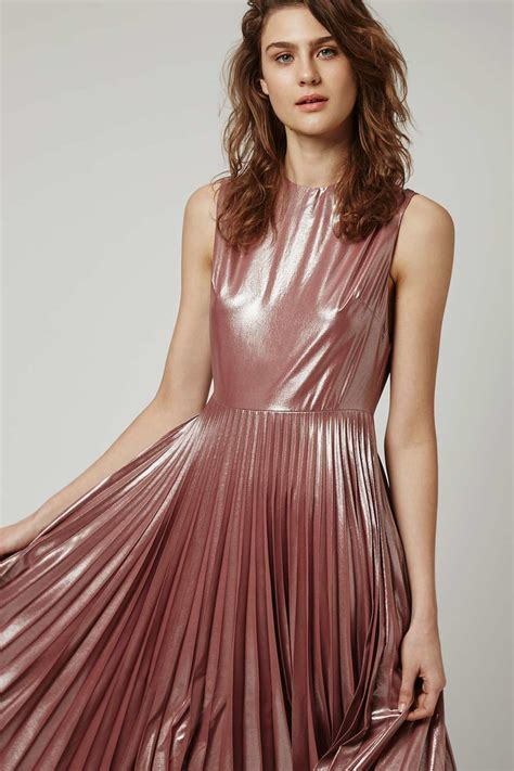 Metallic Dresses by Lyst Topshop Metallic Lam 233 Pleated Midi Dress In Pink