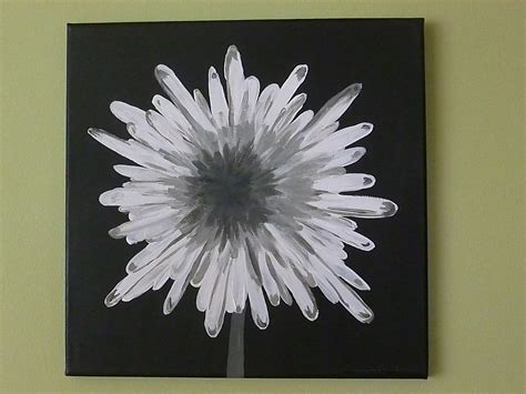 acrylic paint on black canvas modern square painted canvas white and gray modern