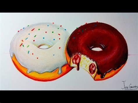 dibujos realistas con colores como dibujar donas donuts realista con lapices de