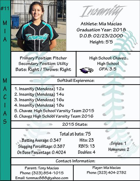 Profile Softball Softball Softball Players College Soccer Softball Player Resume Template