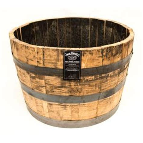 Home Depot Barrel Planter by 25 In Dia Oak Whiskey Barrel Planter B100 The Home Depot
