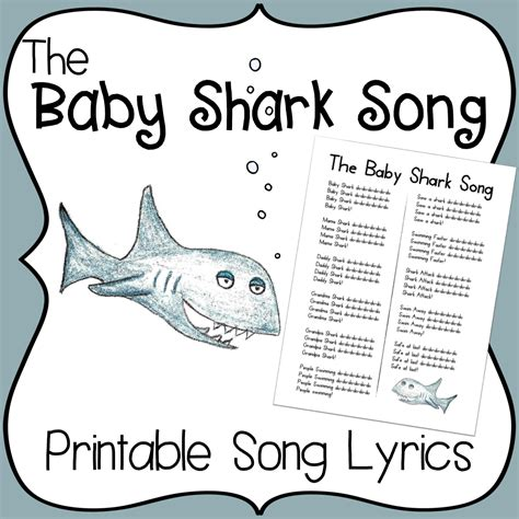 baby shark template baby shark song printable lyrics early childhood