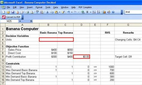 The Mba Decision Study Solution Excel by Excel Solver Solution Decision Modeling