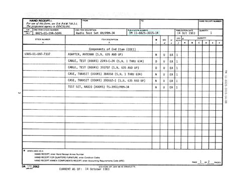 printable hand receipt section ii hand receipt continued tm 11 6625 3015 14