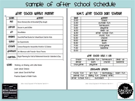 After School Lesson Plan Template by The Educators Spin On It After School Weekly Planner