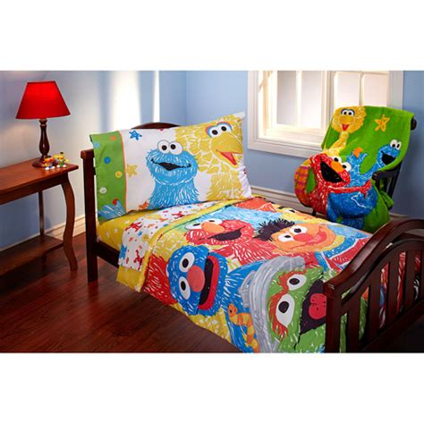 Sesame Street Scribbles 4pc Toddler Bed Set Walmart Com Elmo Bedding Set