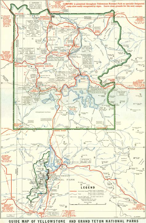 map of yellowstone park 1929 yellowstone and grand teton national parks map yellowstone national park wy us mappery