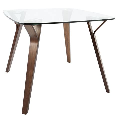 modern square glass dining table lumisource folia mid century modern walnut square dining