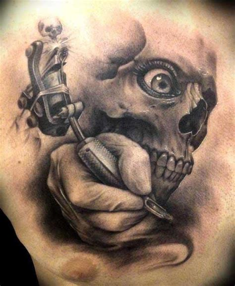 tattoo gun with skull celebrate your brain fortress with skull tattoos tattoodo